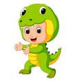 cute kids cartoon wearing crocodile costume vector image vector image