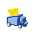 delivery service truck with envelope vector image