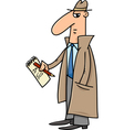 detective or journalist cartoon vector image vector image