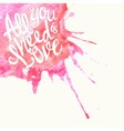 Doodle watercolor lettering symbol of love and vector image