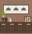 flat coffee house interior barista machine vector image