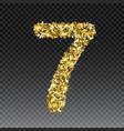 gold glittering number seven shining golden vector image vector image