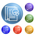 graph paper icons set vector image vector image