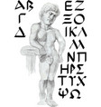 greek font with a statue character vector image vector image