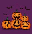 happy halloween card with pumpkins pattern vector image