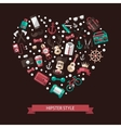 Heart of modern flat design hipster vector image vector image