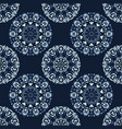 indigo blue circle mandala seamless pattern vector image