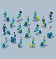 isometry of passengers flight attendants pilots vector image