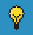Light bulb pixel art vector image