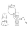 lion and trainer outline vector image
