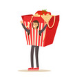 man wearing chinese noodles takeaway box costume vector image