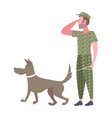 Military man standing with dog army soldier in