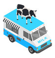 milk shop truck icon isometric style vector image