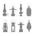 monochrome icons set with lantern vector image vector image