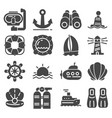 nautical icons set gray marine icons set vector image
