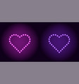 neon dot heart in purple and violet color vector image vector image