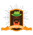 oktoberfest label with an abstract hipster avatar vector image vector image
