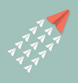 red and white paper planes teamwork leadership vector image vector image