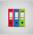 red blue and green realistic folders icon vector image vector image