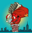 santa claus with money climbs into chimney vector image vector image