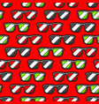seamless pattern with cartoon sunglasses vector image
