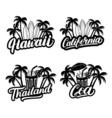 set hawaii california goa and thailand hand vector image vector image