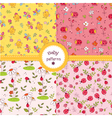 Set of cute kid seamless patterns vector image