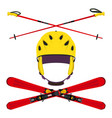 set of helmet with ski poles skiing in flat style vector image vector image