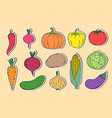 stickers with hand drawn vegetables vector image