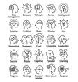 Stroke line pictogram icons set of human brain vector image