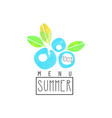 summer menu logo element for healthy food and vector image vector image
