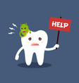 unhealthy dental caries tooth character with text vector image vector image