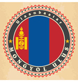 Vintage label cards of Mongolia flag vector image vector image