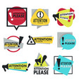 warning or caution attention please sign isolated vector image