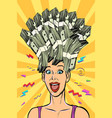 woman dream about money vector image vector image