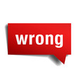 wrong red 3d speech bubble vector image vector image