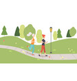 young women running jogging in park girls doing vector image vector image
