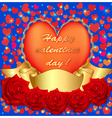 card with rose and heart ribbon vector image