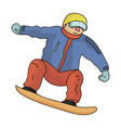 the athlete with the blue jacket and red pants on vector image