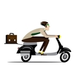 Creative man riding on a scooter vector image