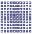 100 baseball icons set grunge sapphire vector image vector image