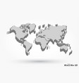 3d world map on gray background vector image vector image