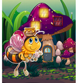 A flying bee near the enchanted mushroom house vector image vector image