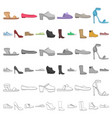 a variety of shoes cartoon icons in set collection vector image