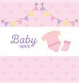 bashower pink bodysuit and sock pennants label vector image