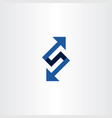 blue letter s or number 5 logo with arrows vector image