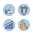Business success money magnet icons vector image vector image