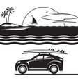 car with surfboards on the beach vector image