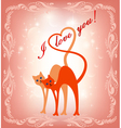 card with a cat and the cat and heart vector image vector image