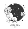 card with astrology leo zodiac sign vector image